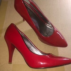 Worn once Patent red stiletto heels
